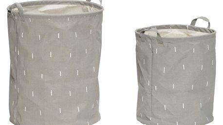 Hübsch Koš na prádlo Grey - set 2ks, šedá barva, textil
