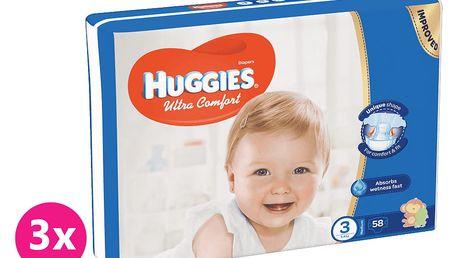 3x HUGGIES® Ultra Comfort 3 (5-8 kg) 58 ks – jednorázové pleny