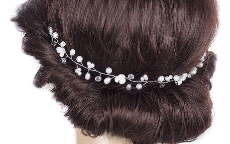 Svatební ozdoba do vlasů - čelenka Stříbrné krystalky a perly do vlasů