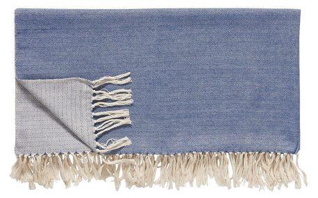 Hübsch Bavlněný pléd Blue Off White 140x200cm, modrá barva, bílá barva, textil