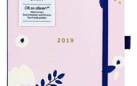 Busy B Diář Flower Pretty 2019, růžová barva, modrá barva, papír