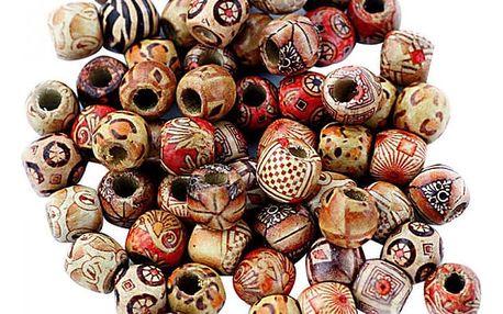 DIY korálky ze dřeva - 100 kusů