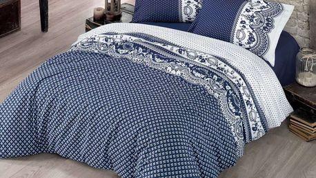 Kvalitex Bavlněné povlečení Canzone modrá, 200 x 200 cm, 2 ks 70 x 90 cm