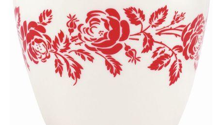 GREEN GATE Latte cup Fleur red, červená barva, bílá barva, porcelán 300 ml