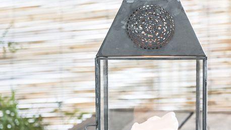 IB LAURSEN Skleněná lucerna Flower, šedá barva, čirá barva, sklo, zinek