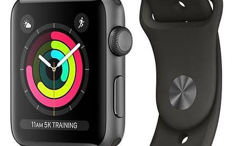 Chytré hodinky Apple Watch Series 3 GPS 38mm pouzdro z vesmírně šedého hliníku - šedý sportovní řemínek (MR352CN/A) + DOPRAVA ZDARMA