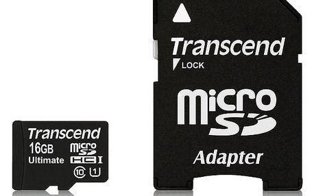 Paměťová karta Transcend MicroSDHC 16GB UHS-I U1 (90MB/s) + adapter (TS16GUSDHC10U1)