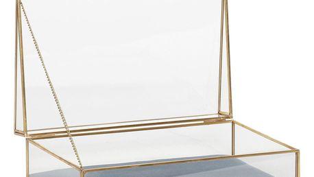 Hübsch Skleněný box Velvet Gold, zlatá barva, sklo, kov