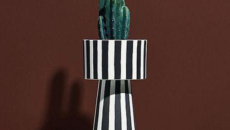 OYOY Květináč s podstavcem Toppu Pot, černá barva, hnědá barva, keramika