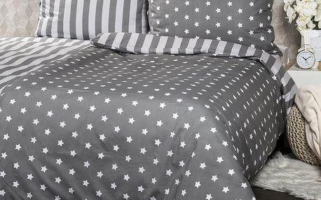 4Home Bavlněné povlečení Stars šedá, 160 x 200 cm, 70 x 80 cm
