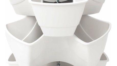 PROSPERPLAST COUBI kaskádový květináč 29,5x29,5x88cm, bílá DKN300W