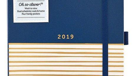 Busy B Diář Stripes Contemporary 2019, modrá barva, zlatá barva, papír