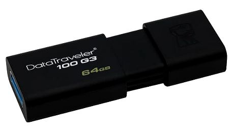 USB Flash Kingston DataTraveler 100 G3 64GB černý (DT100G3/64GB)