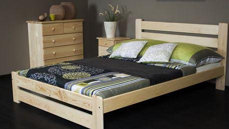 Kvalitní postele z masivního borovicového dřeva v 5 rozměrech