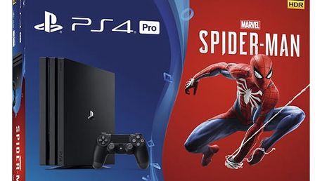 Herní konzole Sony PlayStation 4 Pro 1TB + hra Spider-Man černý + dárek (PS719406570)