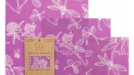 Bee's Wrap Ekologický potravinový ubrousek Purple-3ks, fialová barva, textil