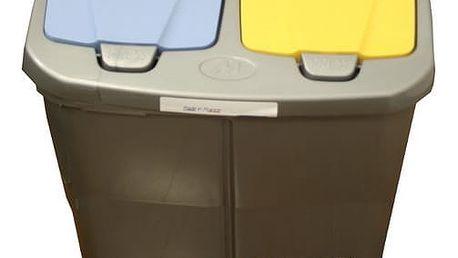Koš na tříděný odpad dvojitý 45l víko modré a žluté