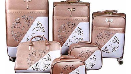 Sada 6 luxusních kufrů s kabelkou i kosmetickými taštičkami