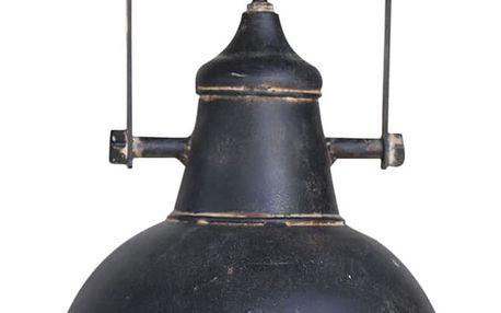 Chic Antique Závěsný lustr Factory Black, černá barva, kov
