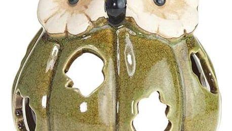 Svícen Sova, aromalampa na čajovou svíčku, s hladkou glazurou