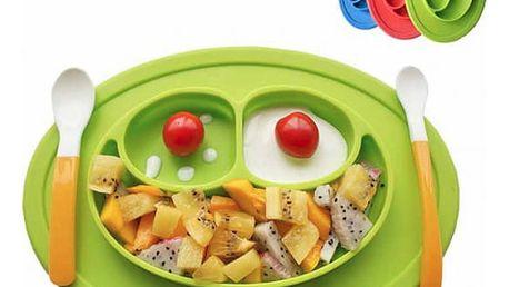 Silikonová podložka s talířem pro děti Smajlík
