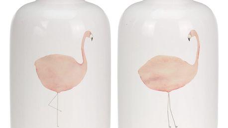 2dílný set váz Plameňák, 20 cm