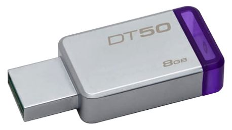 USB Flash Kingston DataTraveler 50 8GB fialový/kovový (DT50/8GB)
