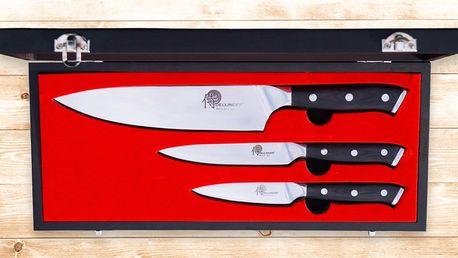 Sada tří japonských nožů Dellinger v dřevěném boxu