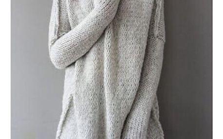 Dámský volný svetr s rolákem v ležérním stylu