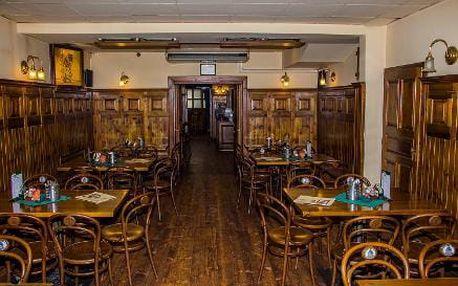 4chodové menu pro 2 osoby včetně sklenky vína a piva na Praze 10