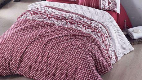 Kvalitex Bavlněné povlečení Canzone červená, 220 x 200 cm, 2 ks 70 x 90 cm