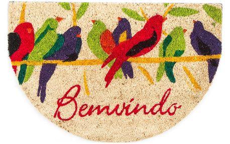 Home Elements Kokosová rohožka půlkruh Ptáčci, 40 x 60 cm