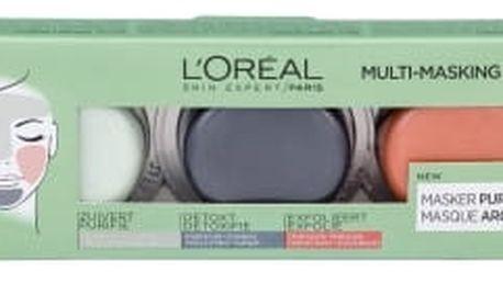 L´Oréal Paris Pure Clay Purity Mask dárková kazeta pro ženy čisticí pleťová maska 10 ml + intenzivní čisticí pleťová maska Detox Mask 10 ml + exfoliační pleťová maska Glow Mask 10 ml