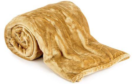JAHU Deka XXL / Přehoz na postel medová, 200 x 220 cm