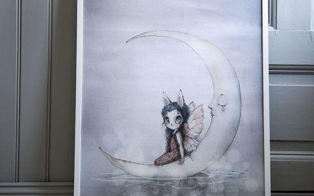 MRS. MIGHETTO Plakát MISS INES 50x70cm - Limited edition, šedá barva, papír