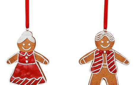 CÔTÉ TABLE Vánoční dekorace - L'mour set 2 ks, červená barva, bílá barva, hnědá barva, plast
