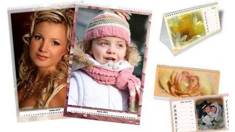 Týdenní a 14denní stolní či měsíční nástěnný kalendář z vlastních fotografií
