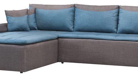 Rohová sedačka MAXIMO, univerzální, modrá látka/tmavě šedá látka