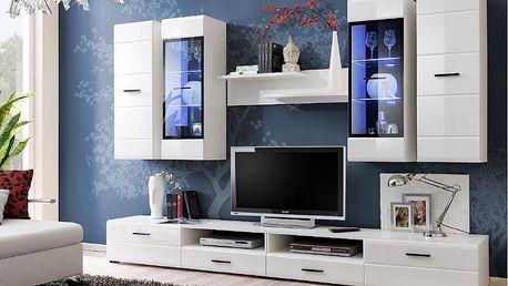 LAUREN, obývací stěna, bílá/bílý lesk MDF DOPRODEJ