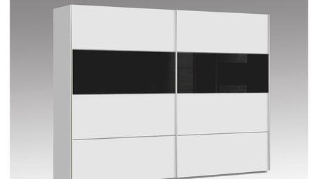 Šatní skříň DREAMLINER, bílá/černé sklo - DOPRODEJ