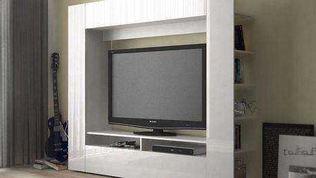 Obývací monoblok PRIOR - PR 04, bílá/bílý lesk