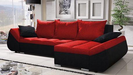 Rohová sedačka KORFU 3, červená/černá