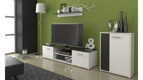 Obývací stěna Zuzana 3, bílá/černá