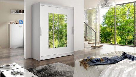 Šatní skříň WIESTA III, bílý mat/zrcadlo