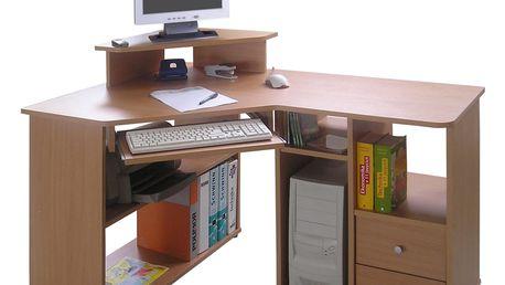 Rohový PC stůl TCHEODOR, buk