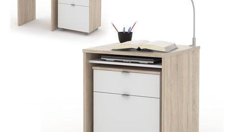 NU psací stůl UNO, dub sonoma/bílá DOPRODEJ
