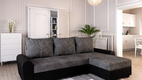 Rohová sedačka DAKAR, tmavě šedá látka/černá ekokůže