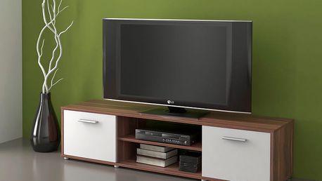 Televizní stolek ZIU01, švestka/bílá