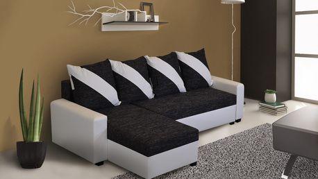 Rohová sedačka ASTANA, černá látka/bílá ekokůže