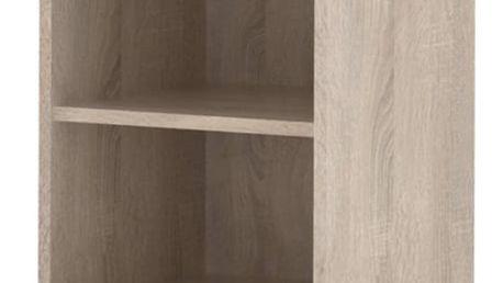 LINNDA, skříňka vysoká LI05, dub sonoma/bílý lesk